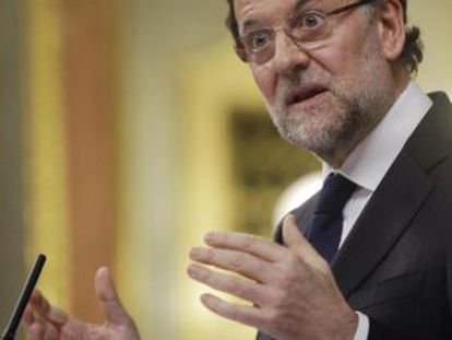 Spain's Prime Minister Mariano Rajoy speaks in Congress on Wednesday.