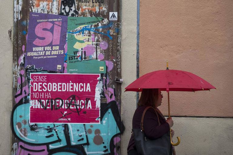 A poster in Barcelona asking for a Yes vote on October 1.