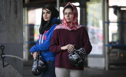Sadaf Rahimi (left) and Shabnam in Madrid.