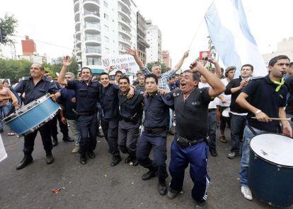 Police hold a protest in La Plata, Argentina.