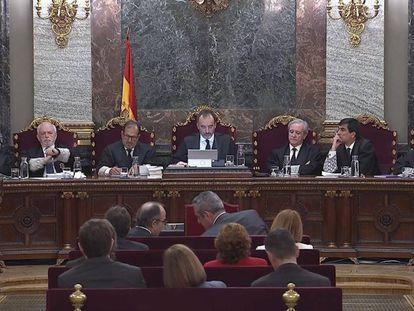 The judges' panel overseeing the Supreme Court trial.