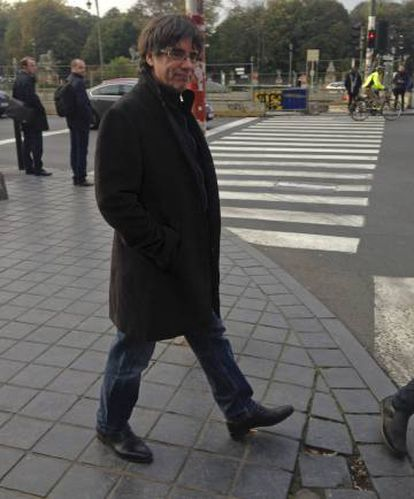 Former Catalan regional premier Carles Puigdemont on Wednesday in Brussels after his press conference.