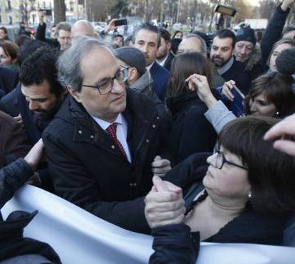 Catalan premier Quim Torra arrives at the Supreme Court to support the defendants.