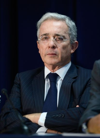 Former Colombian president Álvaro Uribe during a conference in Miami,  in May 2016.