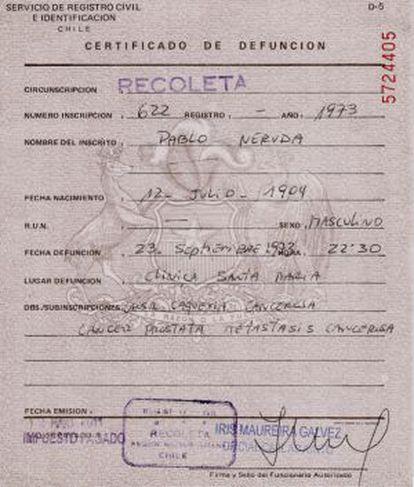 Pablo Neruda's death certificate.