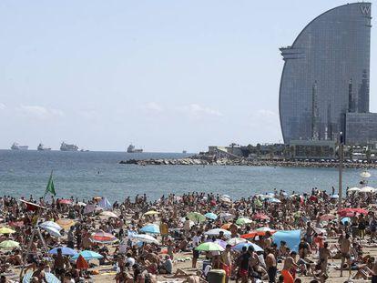 Barcelona's Barceloneta beach in August.