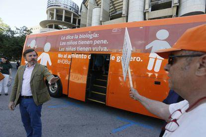 The Hazte Oír bus in Madrid on Tuesday.