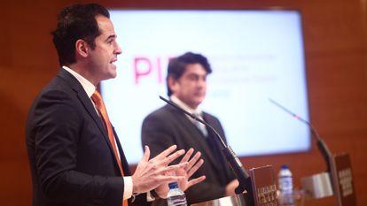 Madrid deputy premier Ignacio Aguado at a news conference on Wednesday.