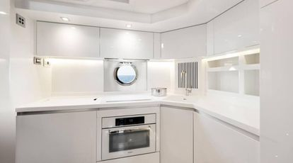 One of the kitchens on the yacht.