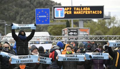 Protesters cut off the AP-7 highway in La Jonquera, Girona.