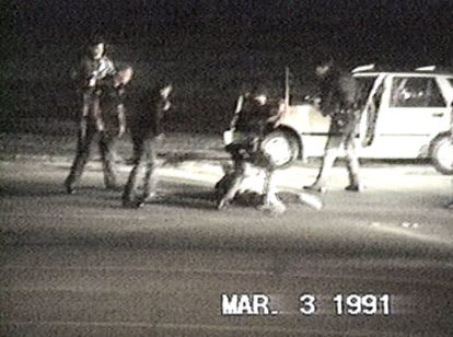 Holliday's footage of police beating Rodney King.