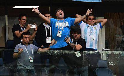 Maradona celebrates an Argentina goal during their game against Nigeria.