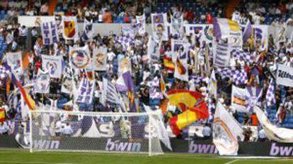 The Ultras Sur inside Real Madrid's Santiago Bernabéu stadium.