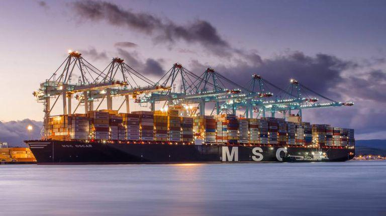 A container vessel at Algeciras.