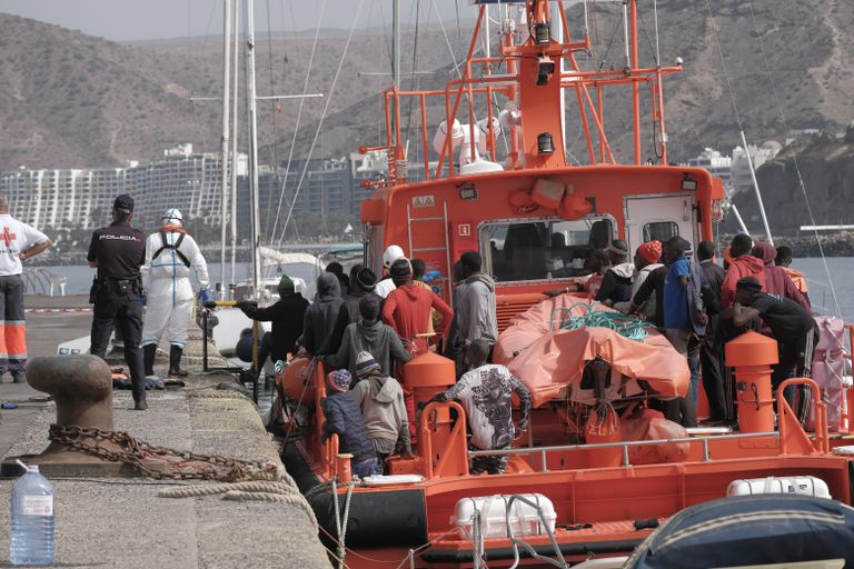 Rescued migrants arrive in Gran Canaria on August 2.
