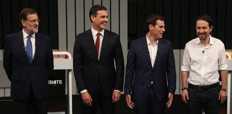 Mariano Rajoy, Pedro Sánchez, Albert Rivera and Pablo Iglesias.