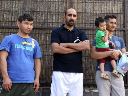 Refugees outside a reception center in Vallecas, in the city of Madrid.