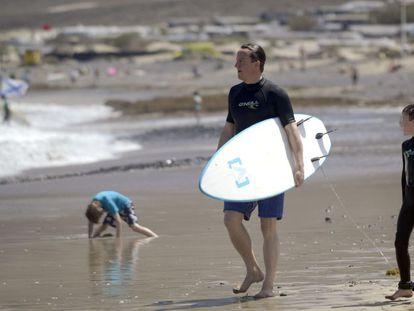 David Cameron on vacation in Lanzarote in 2014.