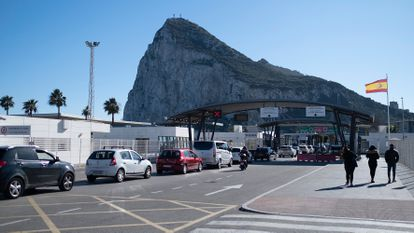 A border check between Spain and Gibraltar in January of this year.