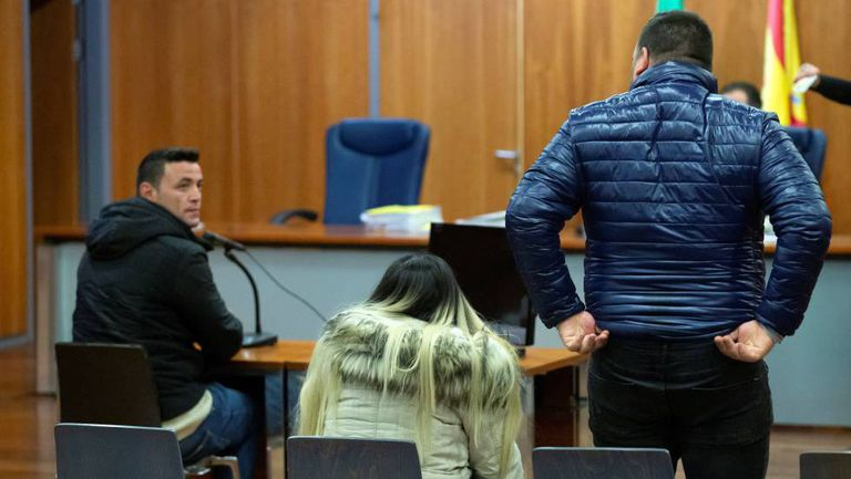 Defendant David Serrano glances at Julen's parents during the court hearing today.