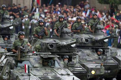 Tanks on parade to celebrate Mexican independence.