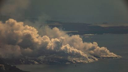 Toxic cloud formed when the lava hits the sea on the island of La Palma.