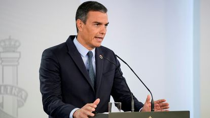 Spanish Prime Minister Pedro Sánchez at a press conference on Friday.