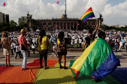 Gay rights supporters at a recent rally in Monterrey.