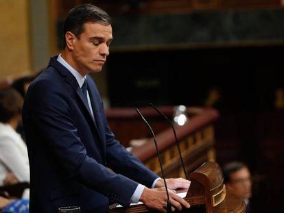 Pedro Sánchez in Congress on Thursday.