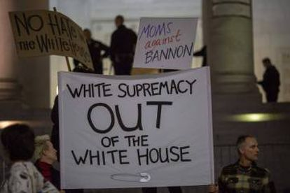 Marchers protesting Steve Bannon's appointment as presidential adviser.