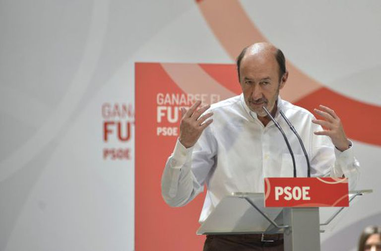Alfredo Pérez Rubalcaba speaking in Jaén on Saturday.