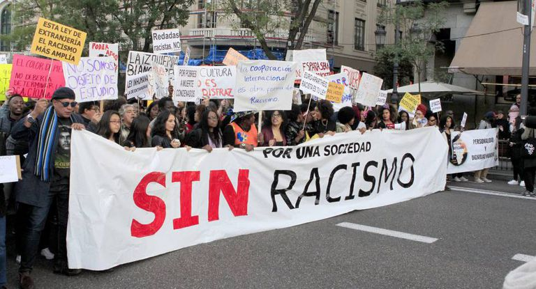 A street march against racism in Madrid in 2017.