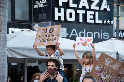 A family at a march in Santa Cruz de Tenerife on Friday to protest violence against women.