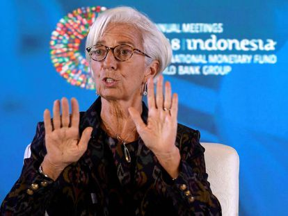 IMF chief Christine Lagarde on October 9 in Bali.