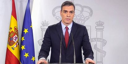 Spanish Prime Minister Pedro Sánchez after today's Cabinet meeting.