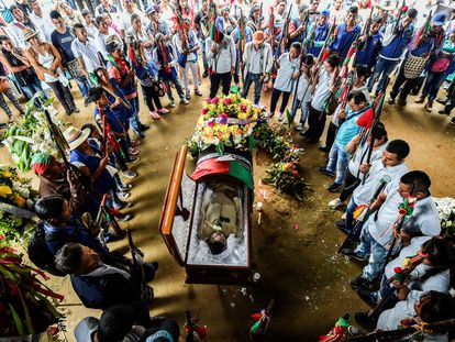 A funeral service for indigenous leader Edwin Dagua in Caloto, Colombia. Dagua was killed for his work in protecting the Huellas ecological reserve.