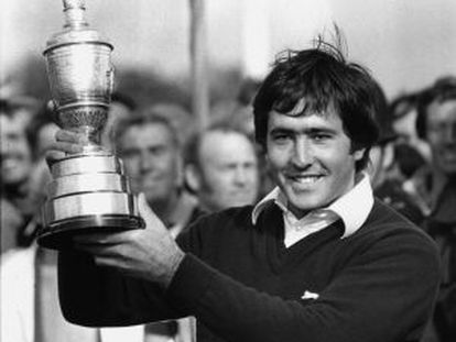 Ballesteros with the Open trophy in 1979.