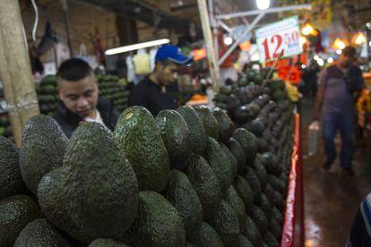 An avocado stall in a Mexico City market.
