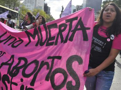 A protest held in Mexico City to demand the decriminalization of abortion in Latin America.