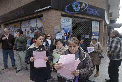 Ecuadorian citizens outside OGC headquarters in Madrid this week.