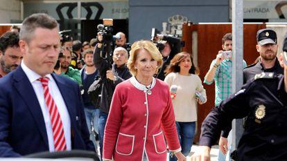 Former Madrid premier Esperanza Aguirre leaves court on Thursday.