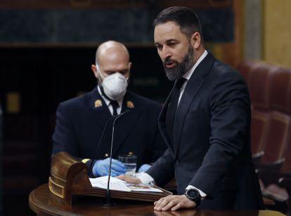 Vox leader Santiago Abascal addressing Congress on Wednesday.