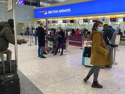 British travelers trying to check in for a flight to Spain at Heathrow airport this weekend.