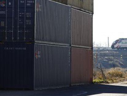 Yixinou freight train containers waiting to return to China.