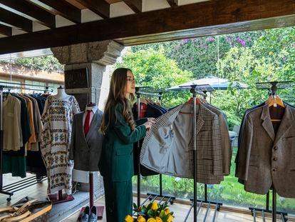 Emilia García Elizondo with one of her grandfather's famous tweed jackets.