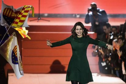 Inés Arrimadas at a campaign rally on December 17 in Barcelona.