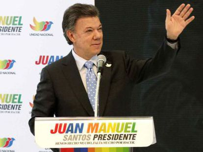 Santos at a campaign rally in Bogotá on Monday.