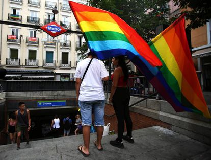 A rainbow flag is flown in Madrid's Chueca neighborhood in a file photo from 2019.
