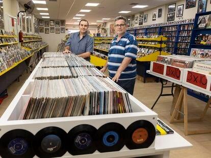Enrique Asunción (l) and Jorge Sosa inside their store Regreso al Pasado in Las Palmas de Gran Canaria.