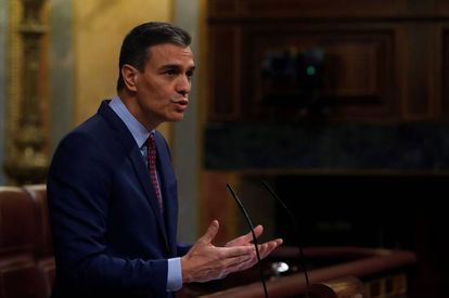 Spanish PM Pedro Sánchez speaking in Congress on Wednesday.